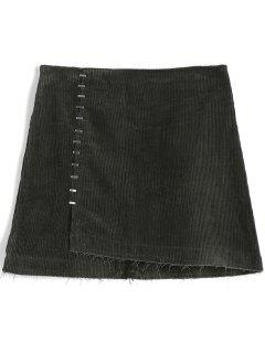 Patch Pockets Embellished Overlap Corduroy Skirt - Greyish Green S
