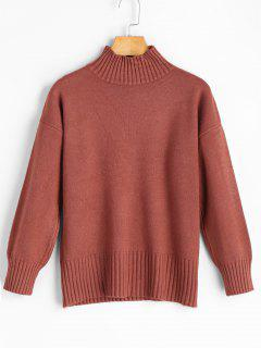 Ribbed Edge High Neck Sweater - Brick-red