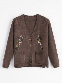 Floral Embroidered Cardigan - Coffee
