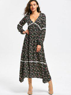 Lace Panel Long Sleeve Floral Dress - 2xl