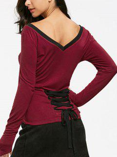 Long Sleeve V Neck Lace Up T-shirt - Wine Red 2xl