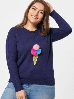 Crew Neck Embroidered Plus Size Sweater - Blue 5xl