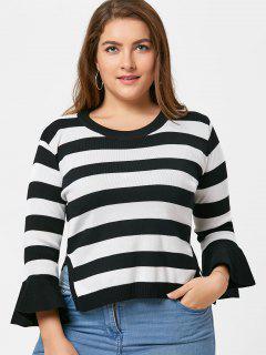 Striped Crew Neck Plus Size Sweater - Black