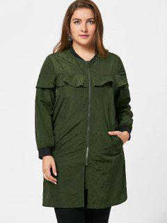 Frilled Plus Size Windbreaker Coat - Army Green 2xl