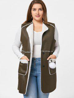 Plus Size Shearling Waistcoat - Army Green 2xl