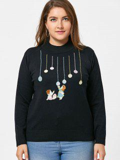 Kids Embroidery Plus Size Sweater - Black 5xl