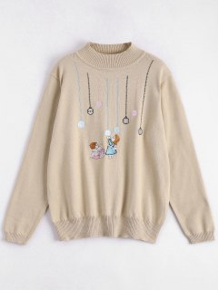 Kids Embroidery Plus Size Sweater - Apricot 2xl