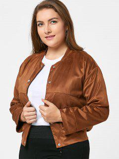 Plus Size Button Up Faux Suede Jacket - Camel 3xl