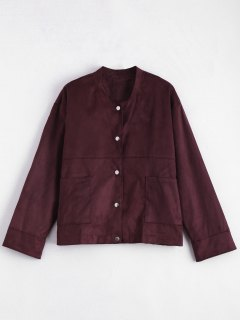 Plus Größe Button Up Faux Wildleder Jacke - Braun Lila  2xl