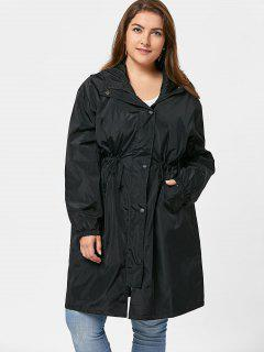 Plus Size Button Up Long Hooded Windbreaker - Black 3xl