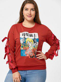 Cartoon Print Plus Size Lace Up Sweatshirt - Red 4xl