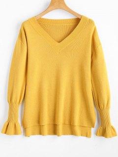 Hoher Niedriger Pullover Mit V-Ausschnitt Und Seitlichem Schlitz - Ingwer-gelb