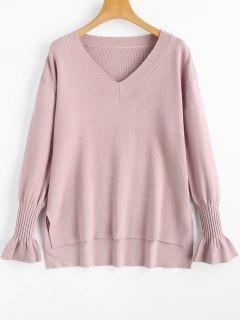 Hoher Niedriger Pullover Mit V-Ausschnitt Und Seitlichem Schlitz - Pink