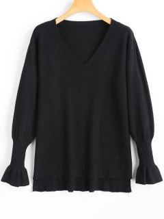 V Neck High Low Side Slit Sweater - Black