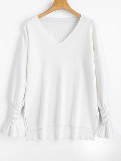Hoher Niedriger Pullover Mit V-Ausschnitt Und Seitlichem Schlitz - Weiß