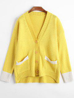 Button Up Drop Shoulder Knit Cardigan - Yellow