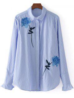 Chemise Brodée Rose Boutonnée à Rayures  - Rayure S