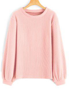Laternehülse Mit Rippen Versehenes Sweatshirt - Pink S