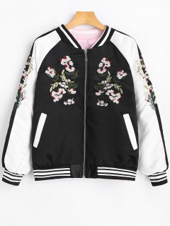 Raglan Sleeve Floral Patched Bomber Jacket - Black S