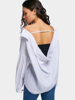 Oversized Cut Out Off Shoulder Shirt - White M