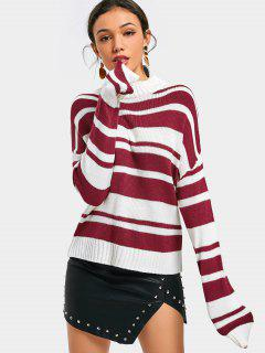 Drop Shoulder Striped Pullover Sweater - Deep Red
