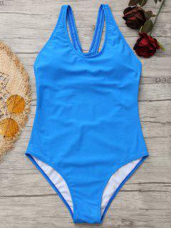 High Leg Cut Out Y Back Swimwear - Blue M