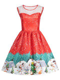 Christmas Print Sleeveless Vintage Dress - Red L