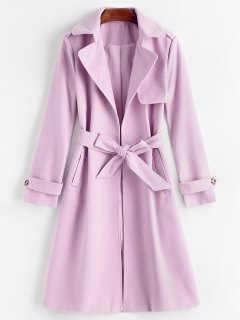 Belted Lapel Coat With Pockets - Pinkish Purple L