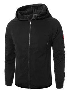 Hooded Raglan Sleeve Appliques Zip Up Jacket - Black M