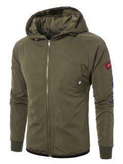 Hooded Raglan Sleeve Appliques Zip Up Jacket - Army Green M