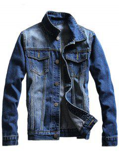 Button Up Chest Pocket Denim Jacket - Blue 3xl