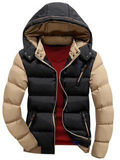 Color Block Puffer Jacket With Detachable Hood - Black Xl