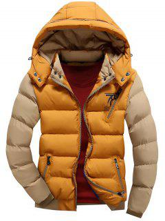 Color Block Puffer Jacket With Detachable Hood - Yellow 3xl
