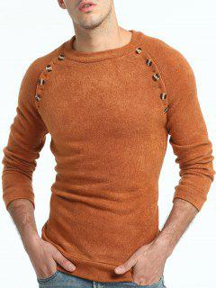 Button Embellished Raglan Sleeve Sweater - Light Brown L