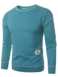 Crew Neck Applique Suture Pullover Sweatshirt - Light Blue M