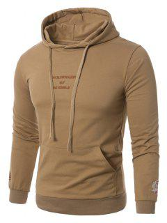 Hooded Graphic Embroidered Pocket Pullover Hoodie - Khaki 5xl