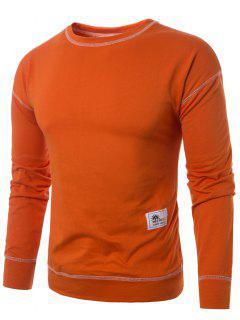 Rundhalsausschnitt Mit Nahtnaht Pullover - Orange  M