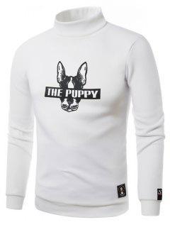 Turtle Neck Dog Graphic Print Fleece Sweatshirt - White M