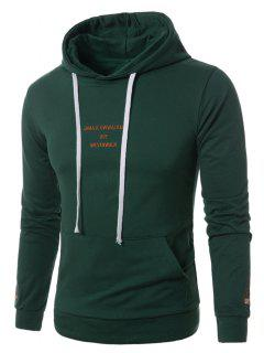 Hooded Graphic Embroidered Pocket Pullover Hoodie - Green 5xl