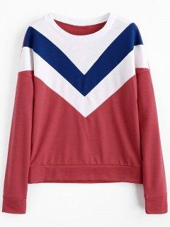 Drop Shoulder Contrast Sweatshirt - Red Xl