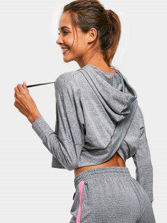 Heathered Back Crossover Sporty Hoodie - Gray M
