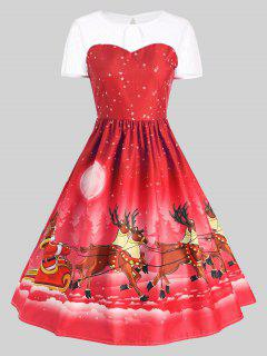 Mesh Panel Christmas Santa Claus Sleigh Party Dress - Red Xl