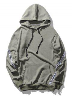 Pocket Letter Pullover Hoodie - Gray L