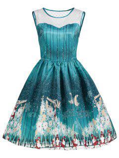 Weihnachtsdruck Mesh Insert Vintage Kleid - Grün 2xl