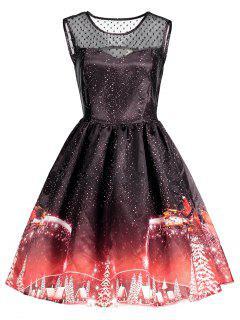 Christmas Printed Mesh Panel Vintage Dress - Black M