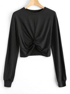 Heathered Cropped Twist Sweatshirt - Black S