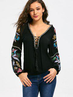 Floral Embroidered Balls Trim Lace Up T-shirt - Black M