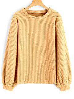 Lantern Sleeve Ribbed Sweatshirt - Mustard M