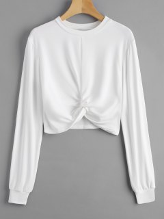 Heathered Cropped Twist Sweatshirt - White M