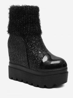 Fold Over Glitter Platform Mid Calf Boots - Black 38